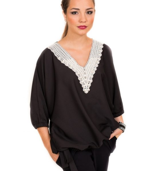 TENDANCE UNIQUE – BARI TOP – BLACK – PEARLS – WINTER 2015