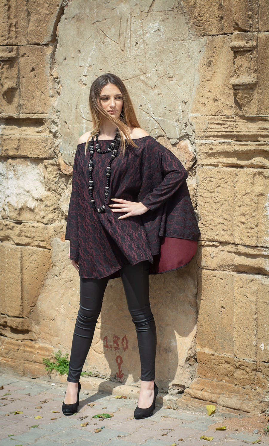WINTER 18 – TENDANCE UNIQUE – MONACO – TUNIC – LACE – BURGUNDY – NORMA