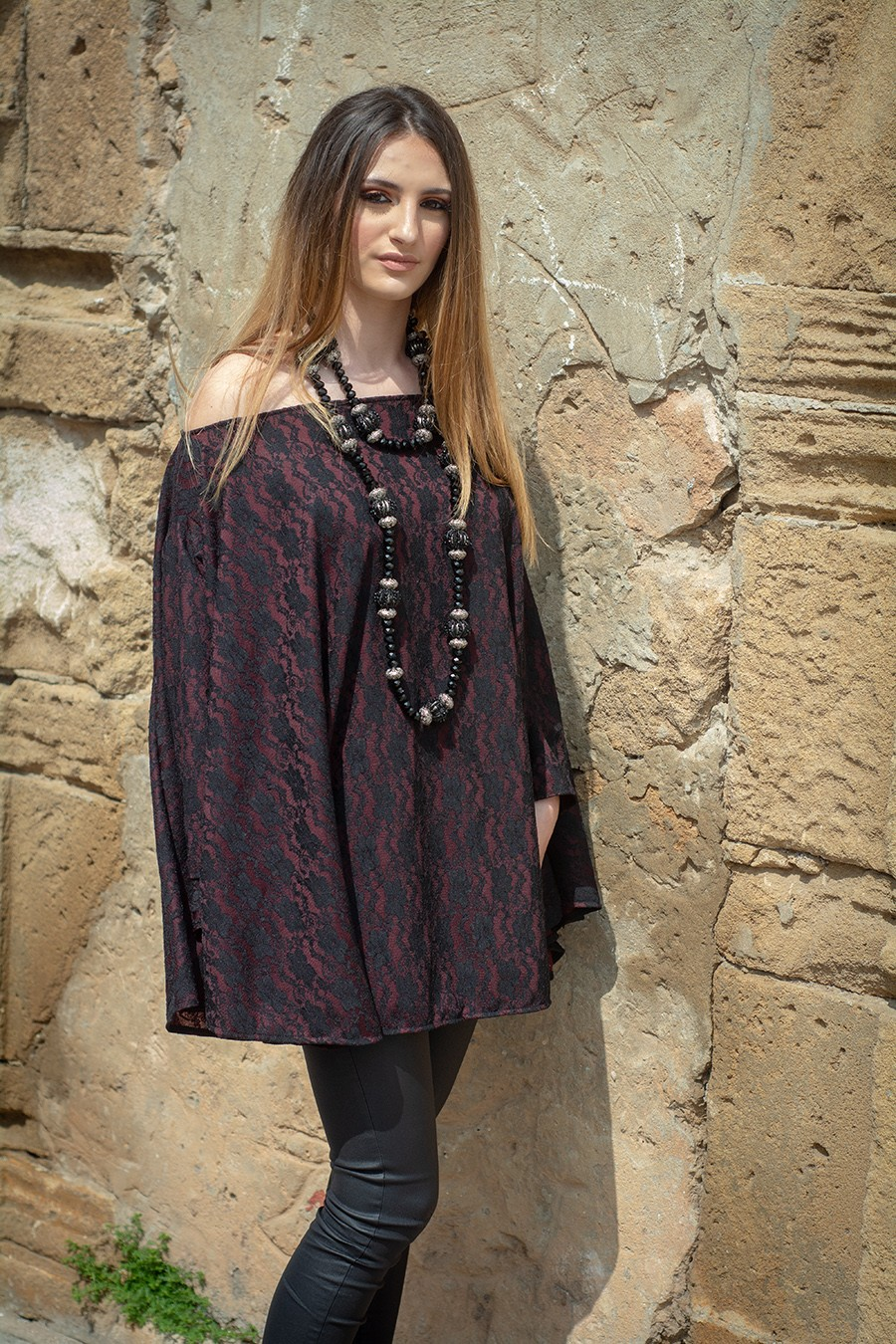 MONACO – TENDANCE UNIQUE – WINTER 18 – TUNIC – LACE – BURGUNDY – NORMA