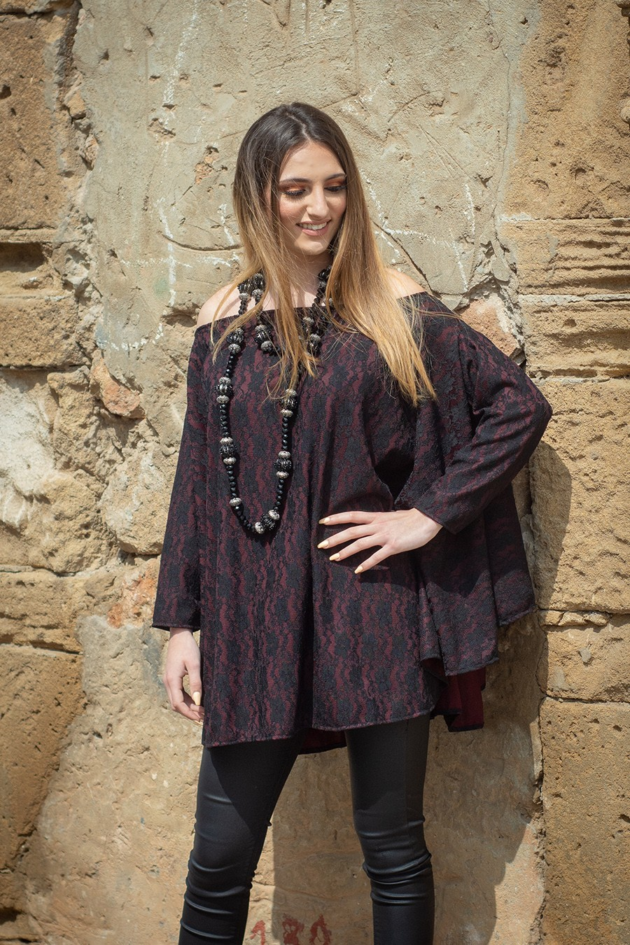 TENDANCE UNIQUE – WINTER 18 – MONACO – TUNIC – LACE – BURGUNDY – NORMA