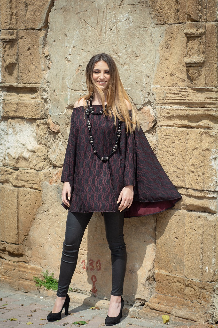 TUNIC – LACE – BURGUNDY – NORMA – TENDANCE UNIQUE – WINTER 18 – MONACO