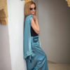 VELOURS – JUPE LONGUE – TENDANCE UNIQUE – MONACO – HIVER 18 – DRAPA – BLEU