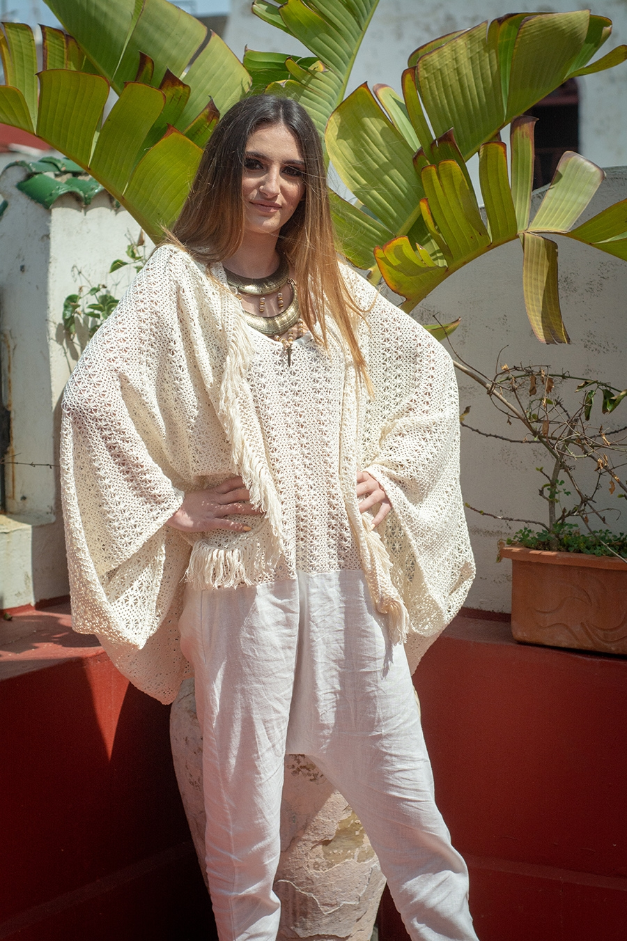 BOHO CHIC – TENDANCE UNIQUE – GILET COURT OVERSIZE EN CROCHET – ETE 19 – SUMMER 19 – MONACO